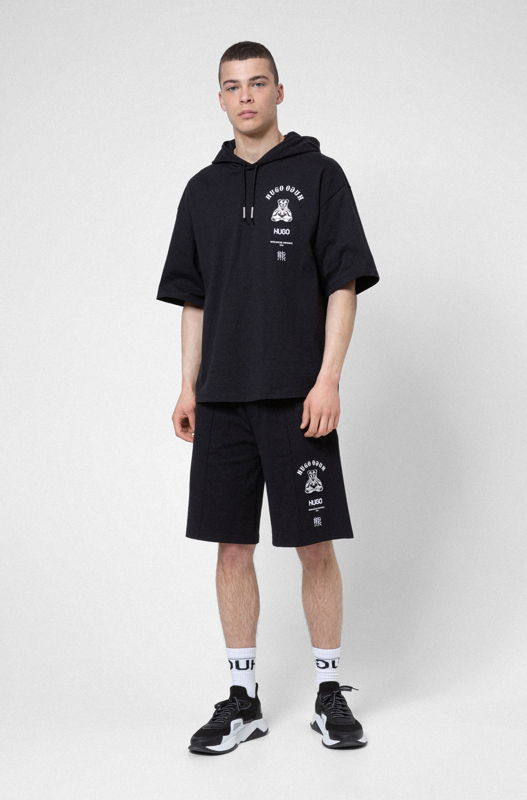 Cotton-jersey shorts with graphic bear motif