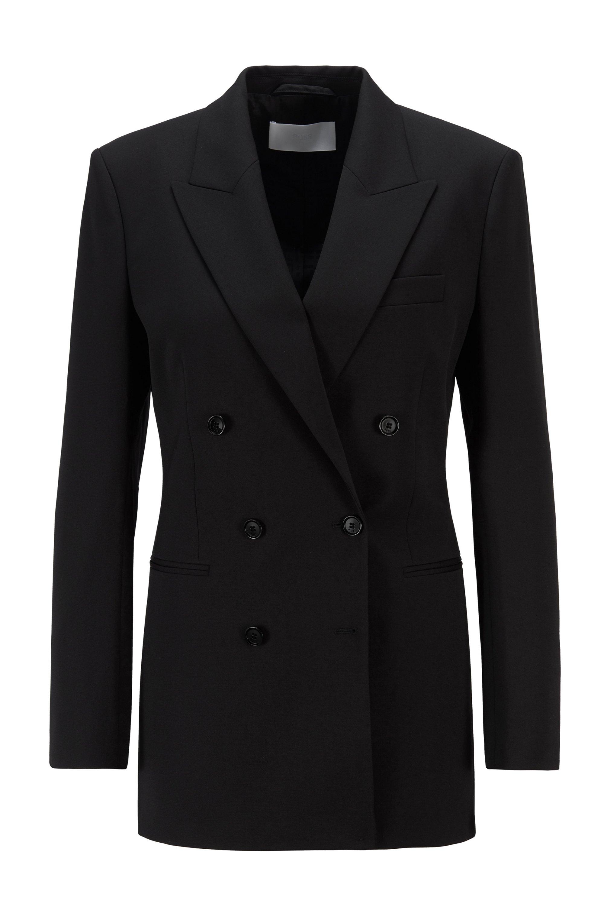 Zweireihiger Regular-Fit Blazer aus italienischer Stretch-Wolle, Schwarz