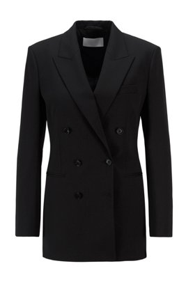 Regular-fit double-breasted blazer in Italiaanse stretchwol, Zwart