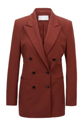 Double-breasted regular-fit jacket in Italian stretch wool, Brown