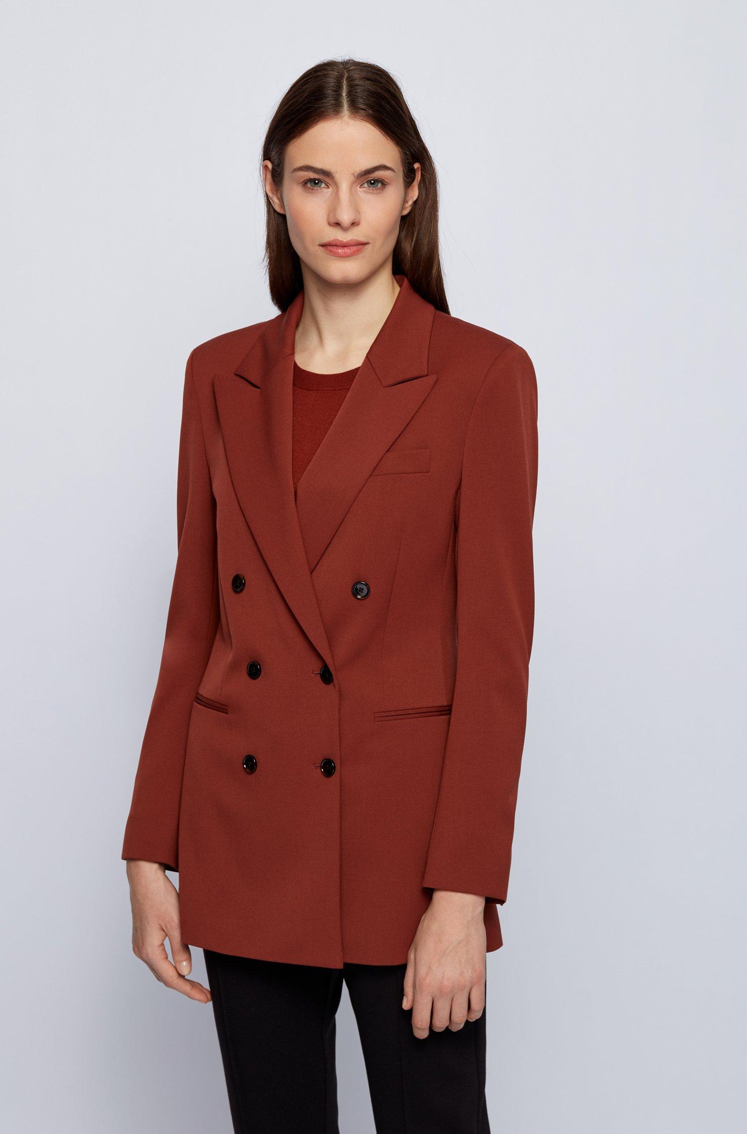 Regular-fit double-breasted blazer in Italiaanse stretchwol, Bruin