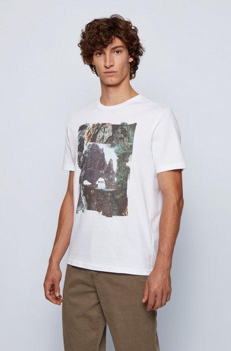 T-Shirt aus Baumwoll-Jersey mit Foto-Print, Weiß