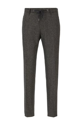 Slim-fit trousers in a tweed wool blend, Light Green