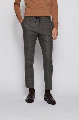 Slim-fit trousers in a tweed wool blend, Light Green