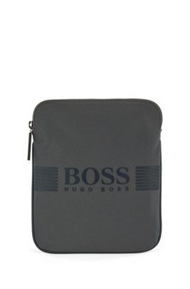 Envelope bag in structured nylon with silicone-print logo, Dark Grey
