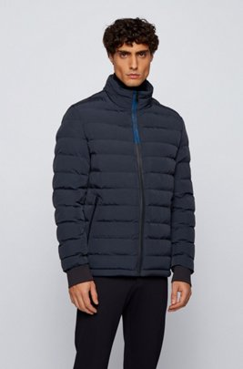 Baffle-quilted jacket in crinkle-effect fabric, Dark Blue