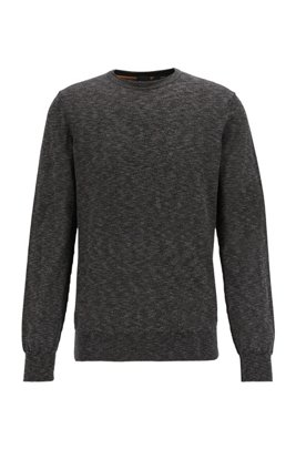 Knitted-cotton sweater with melange structure in slim fit, Dark Grey
