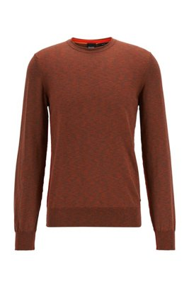 Knitted-cotton sweater with melange structure in slim fit, Brown