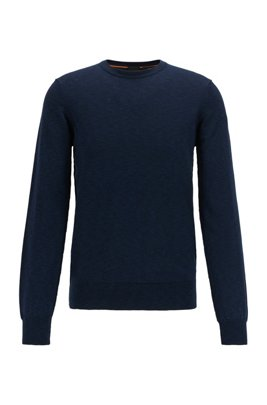 Knitted-cotton sweater with melange structure in slim fit, Dark Blue