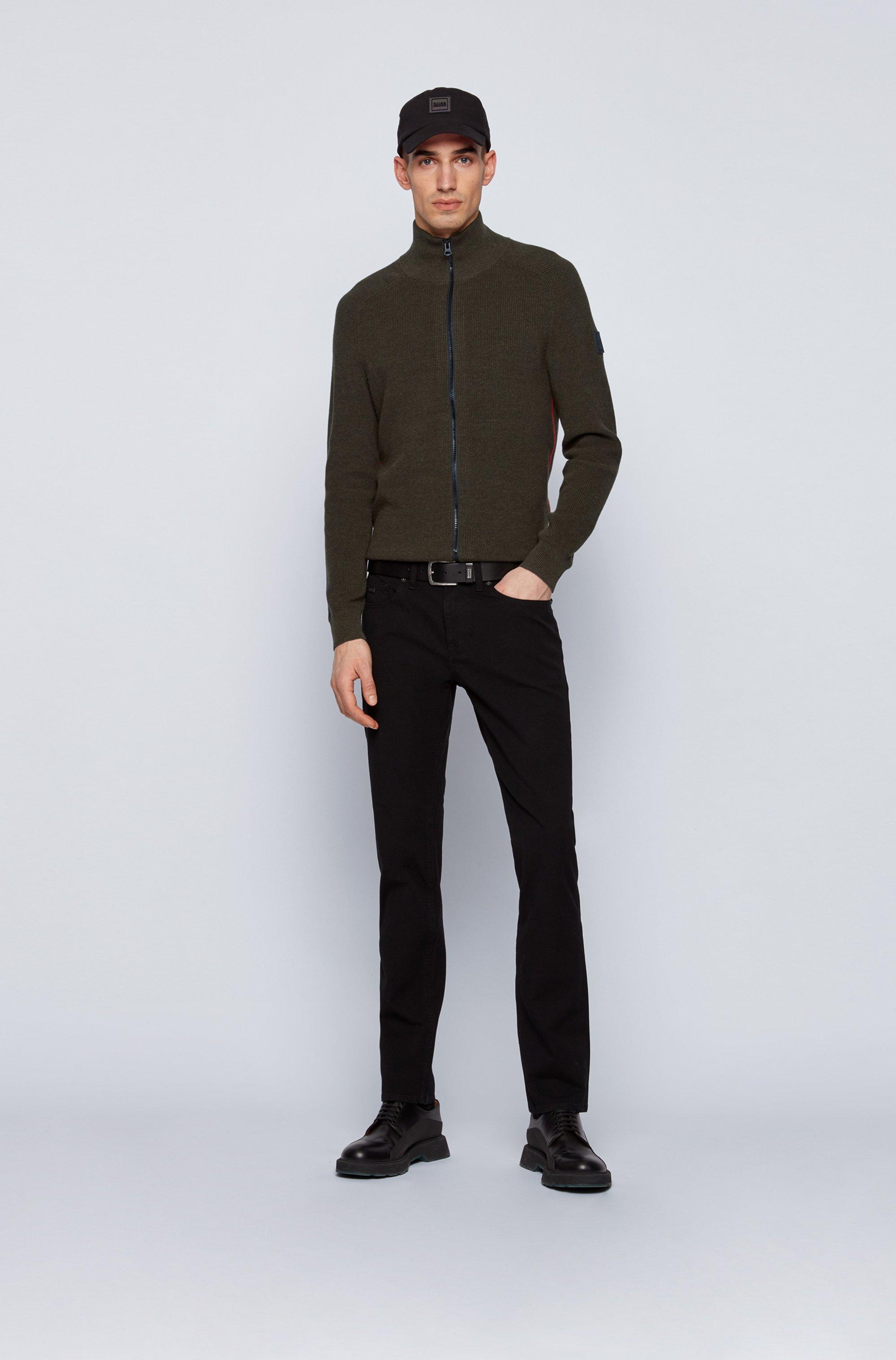 Veste zippée en coton chiné à rayures latérales