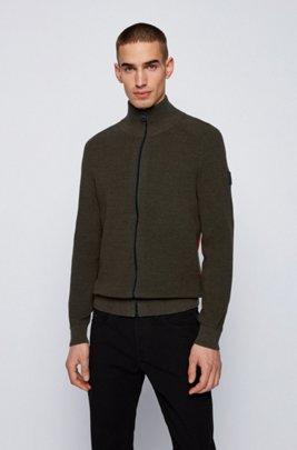 Veste zippée en coton chiné à rayures latérales, Vert sombre