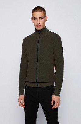 Zip-through jacket in melange cotton with side stripe, Dark Green