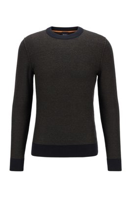 Regular-fit sweater in two-tone knitted cotton, Black