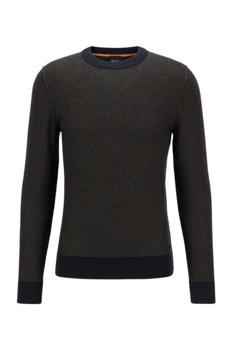 Maglione regular fit in cotone con lavorazione bicolore, Nero