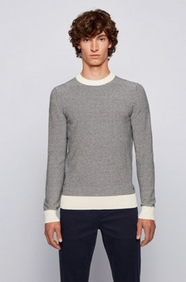 Regular-fit sweater in two-tone knitted cotton, Blue Patterned