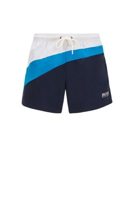 Colour-block swim shorts in quick-dry fabric, Blue