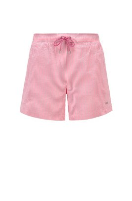 Quick-dry swim shorts in striped seersucker fabric, Pink
