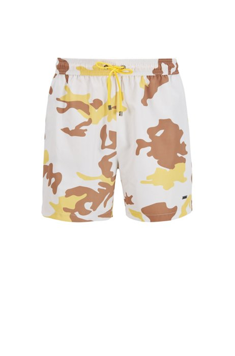 Quick-dry swim shorts in camouflage-print recycled fabric, White Patterned