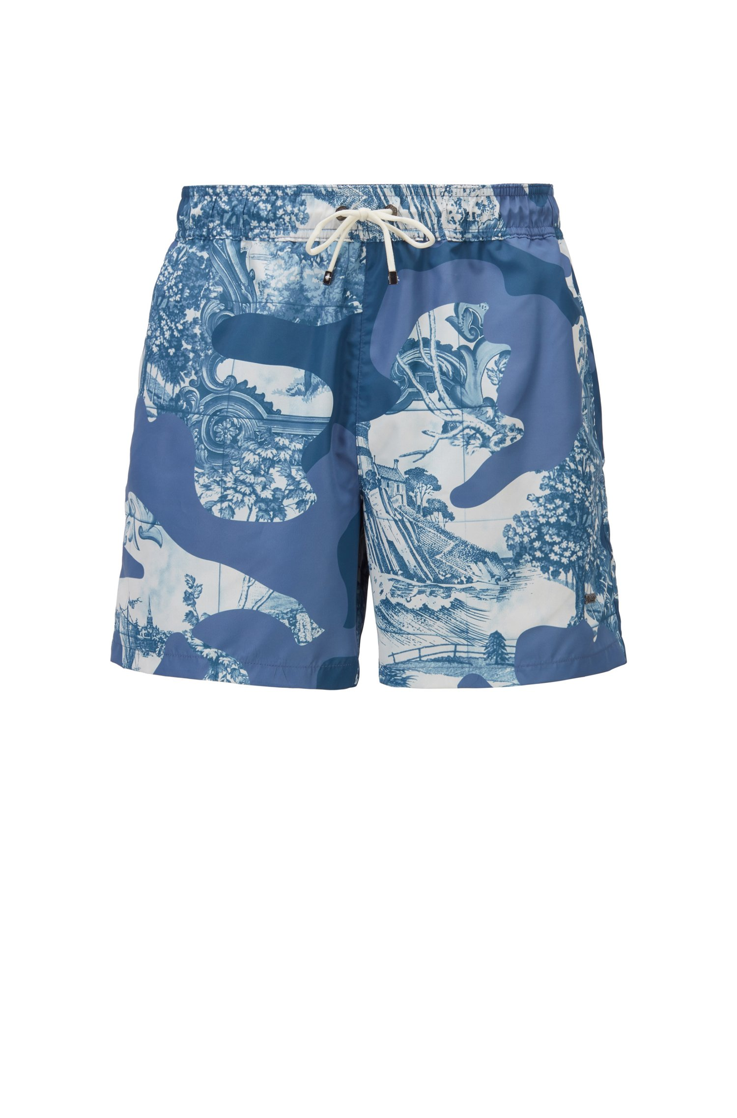 Quick-dry swim shorts in camouflage-print recycled fabric, Light Blue