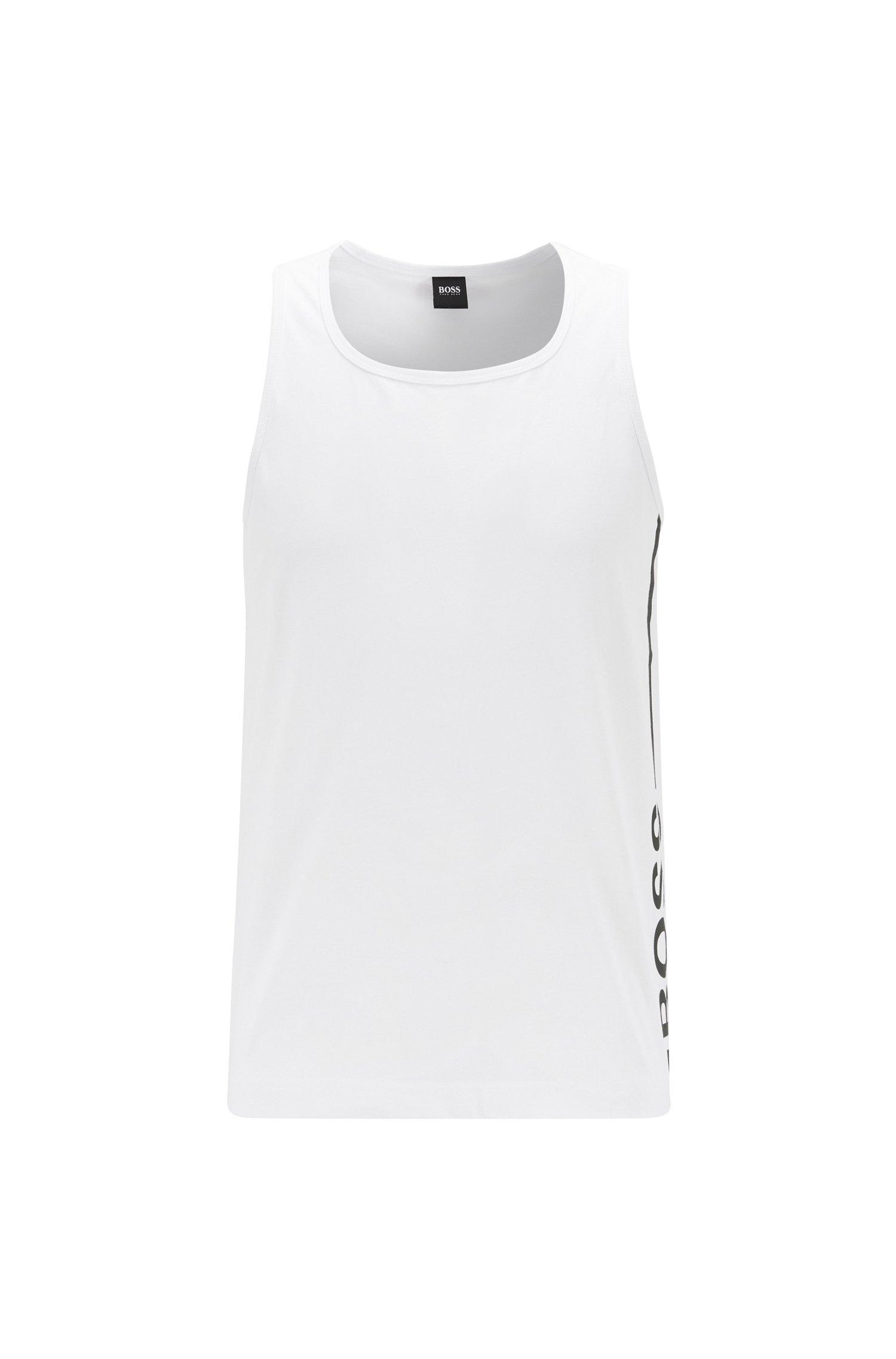 Tanktop aus reiner Baumwolle mit vertikalem Logo, Weiß