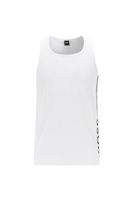 Tank top in pure cotton with vertical logo, White