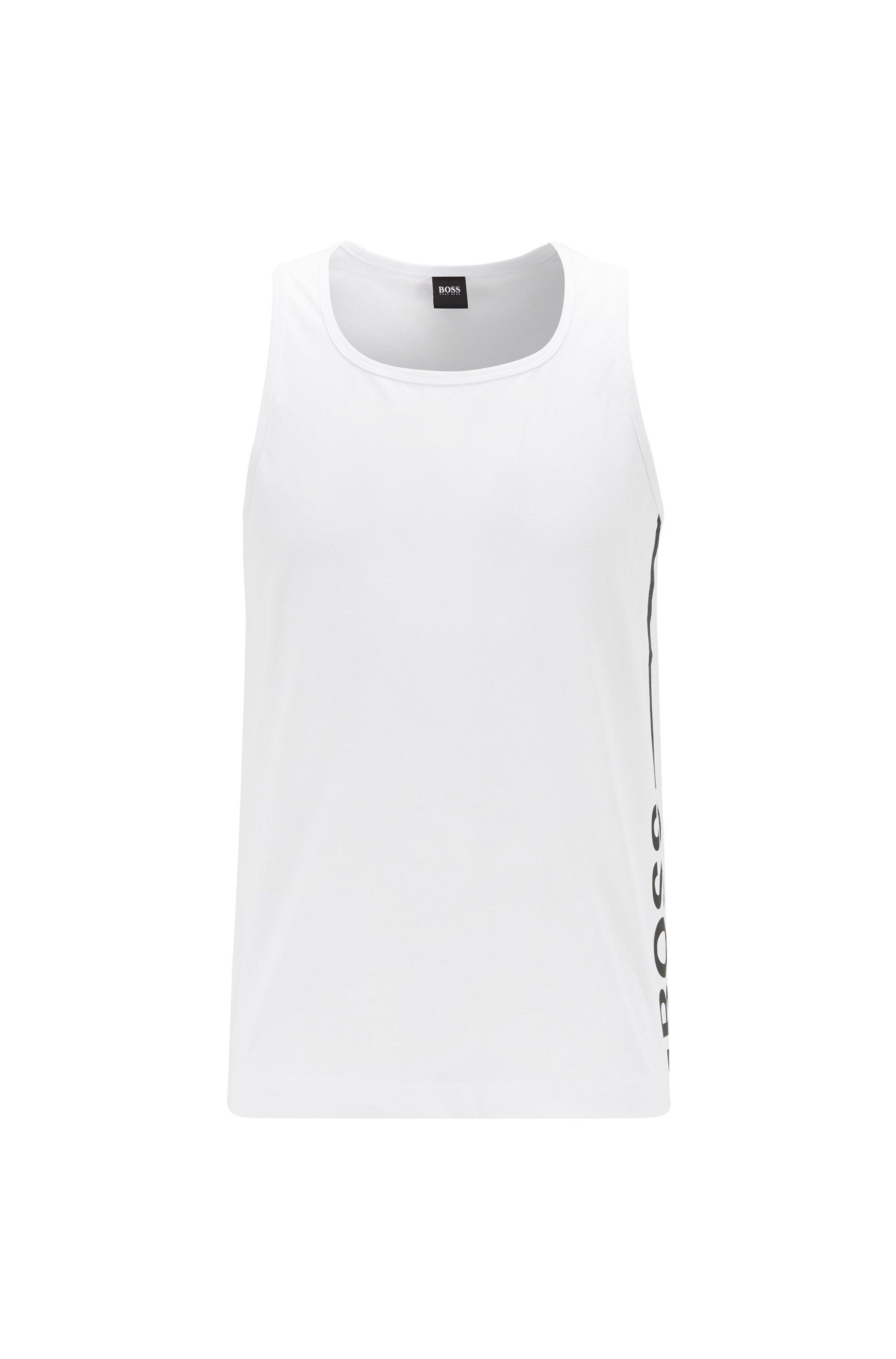 Débardeur en coton pur à logo vertical, Blanc
