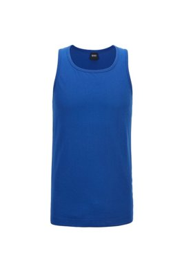 Tank top in pure cotton with vertical logo, Blue