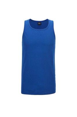 Camiseta de tirantes en puro algodón con logo vertical, Azul