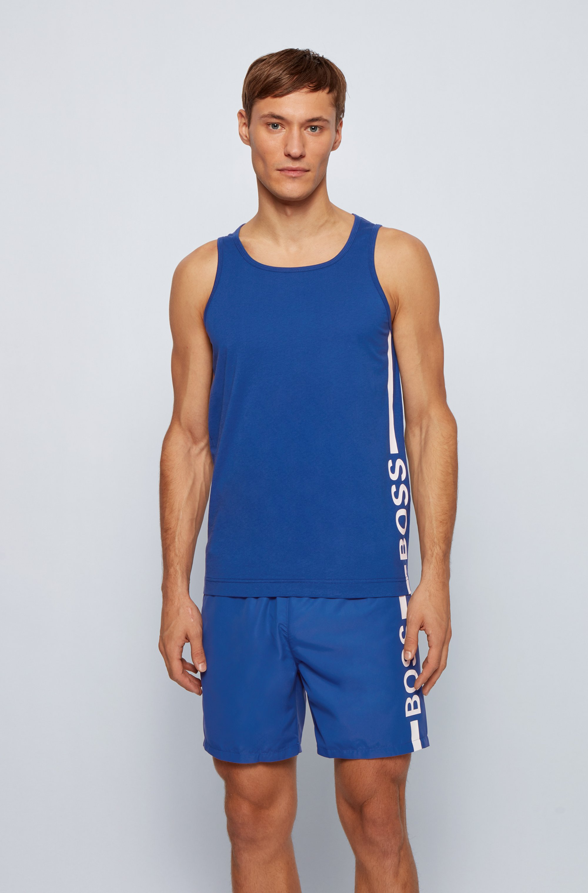 Tank top in pure cotton with vertical logo