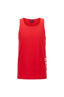 Tank top in pure cotton with vertical logo, Red