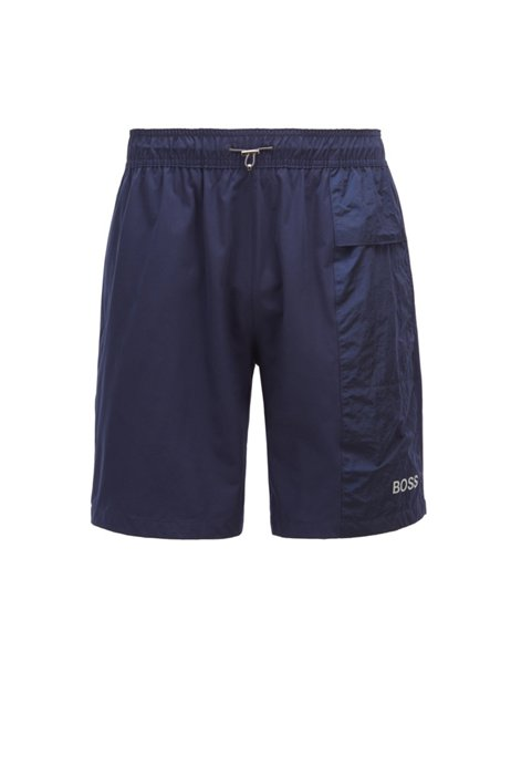 Fully lined swim shorts in quick-dry stretch fabric, Dark Blue