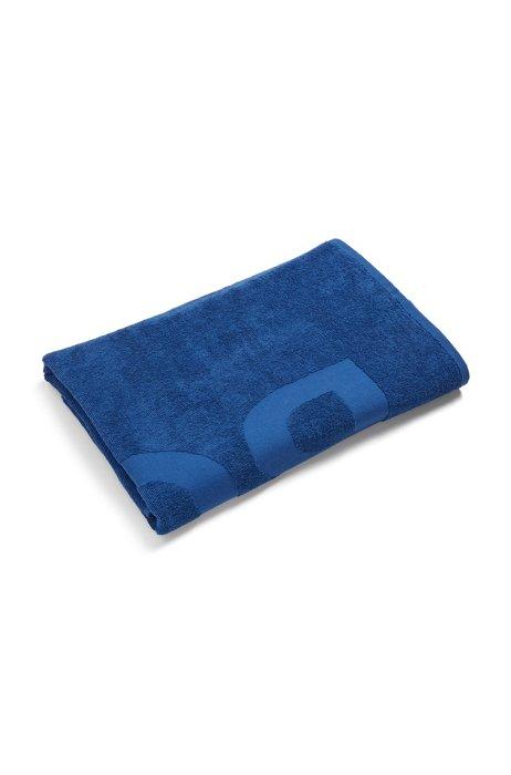 Cotton-jacquard beach towel with tone-on-tone logo, Blue