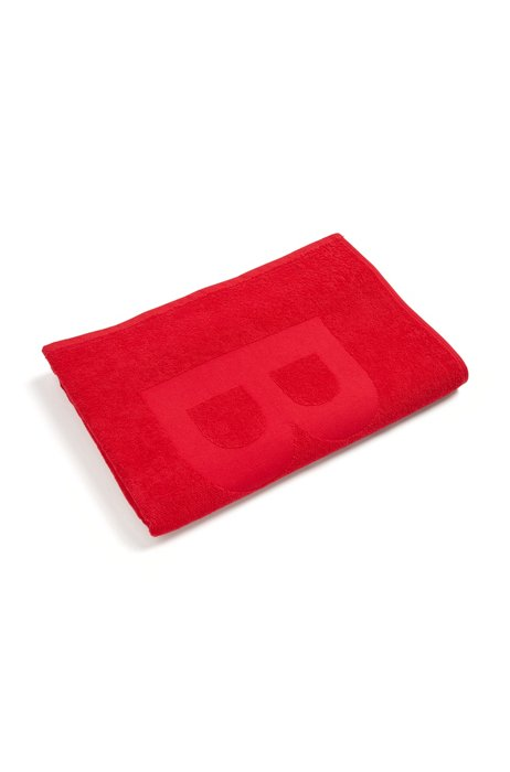 Cotton-jacquard beach towel with tone-on-tone logo, Red
