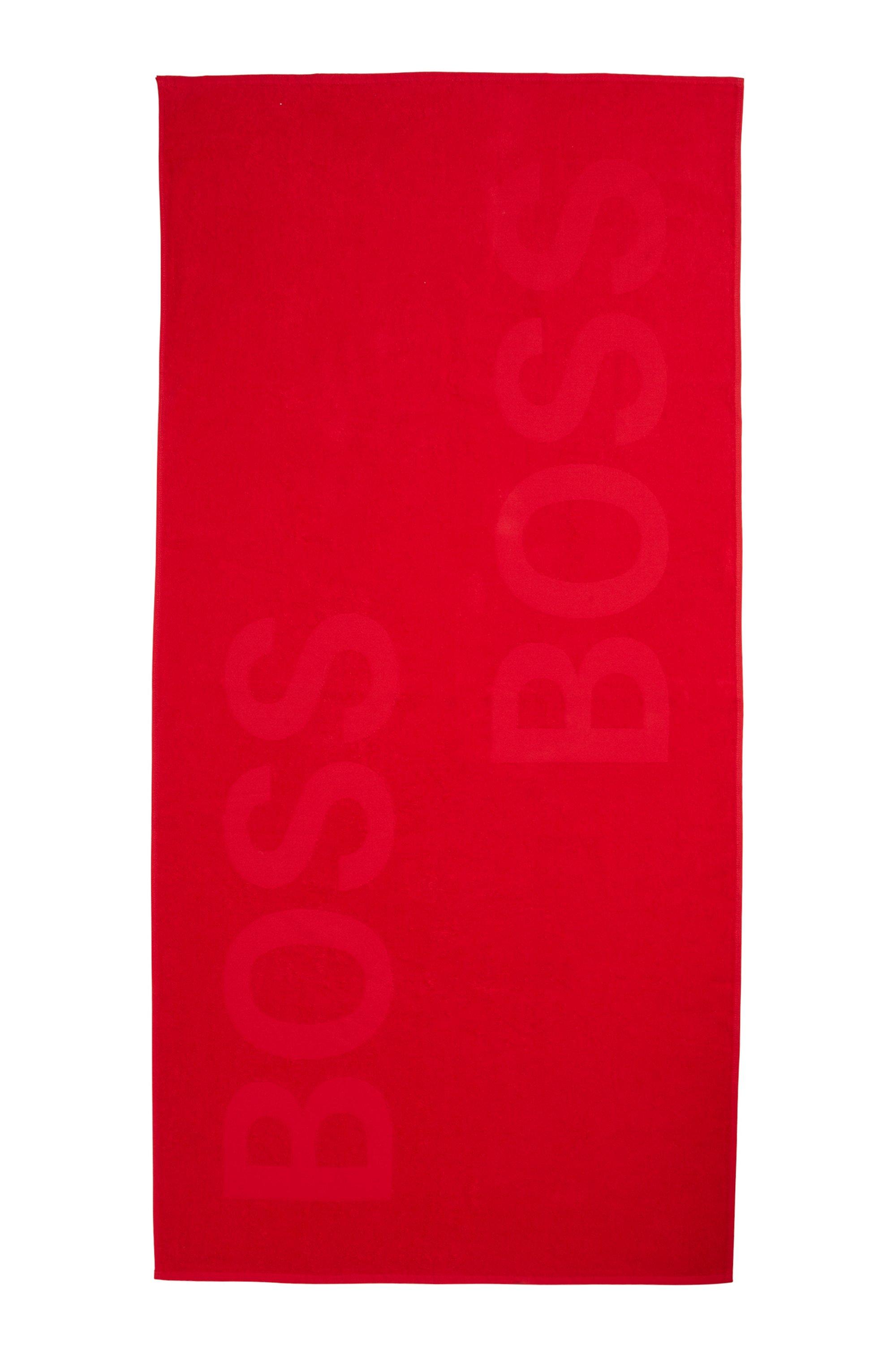Cotton-jacquard beach towel with tone-on-tone logo