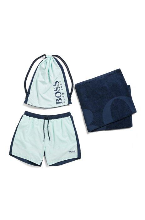 Beach towel and swim shorts in branded drawstring bag, Light Green