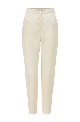Slim-fit broek van leer met hoge taille en knoopdetails, Wit