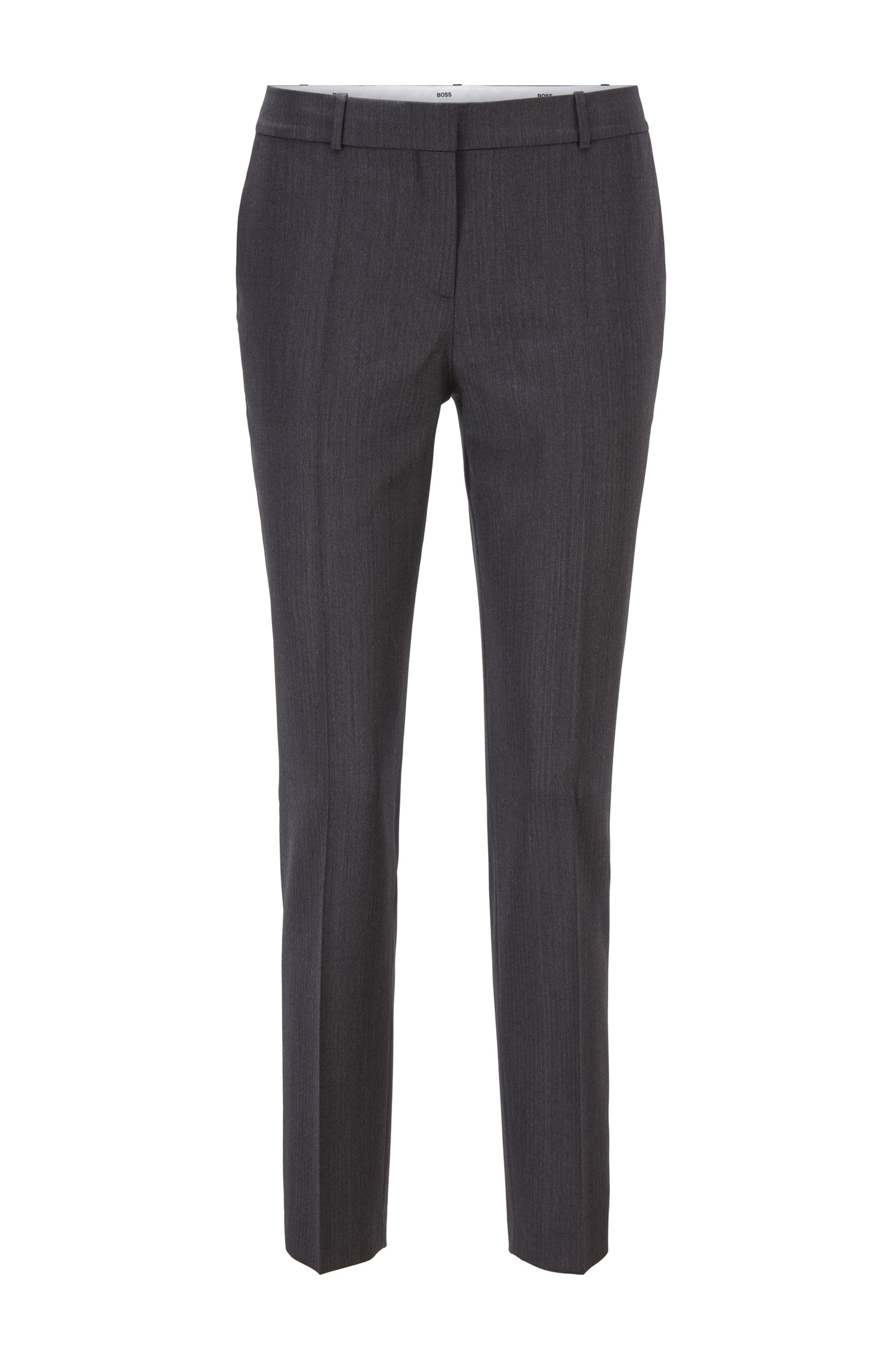 Regular-fit trousers in herringbone virgin wool, Patterned