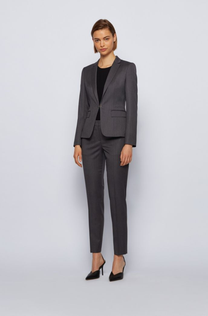 Regular-fit trousers in herringbone virgin wool