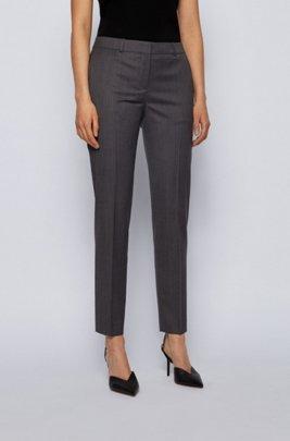 Regular-fit trousers in herringbone virgin wool, Patterned