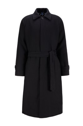 Relaxed-fit cotton-blend coat with rear star motif, Black