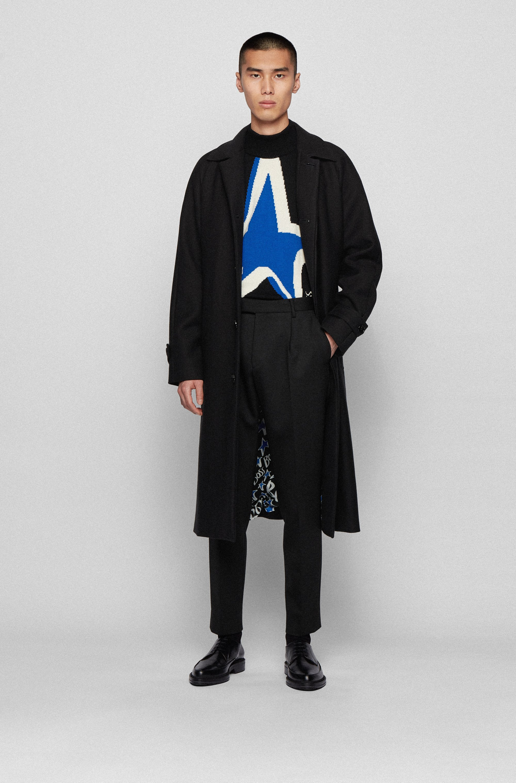 Relaxed-fit cotton-blend coat with rear star motif