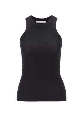 Slim-fit tanktop in stretch jersey, Zwart