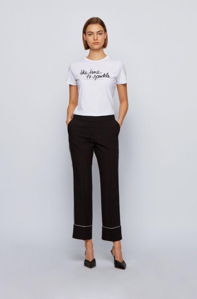 Crew-neck T-shirt in organic cotton with glitter slogan
