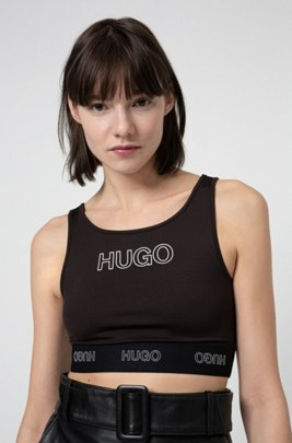 Cropped top in stretch jersey with 3D logo print, Black