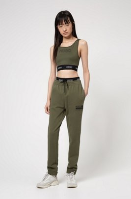 Cropped top in stretch jersey with 3D logo print, Khaki