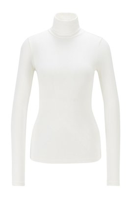 Turtleneck top in a super-soft modal blend, White