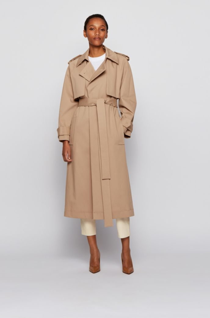 Relaxed-fit trench coat in stretch-cotton twill