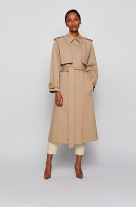 Relaxed-fit trench coat in stretch-cotton twill, Beige