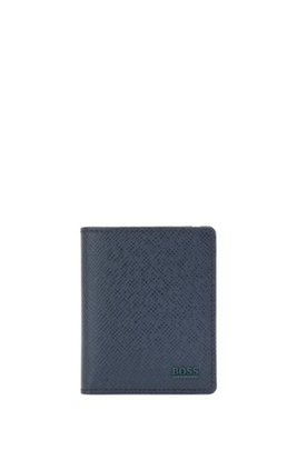 Signature Collection folding wallet in palmellato leather, Dark Blue