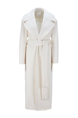 Relaxed-fit coat in virgin wool with zibeline finish, White